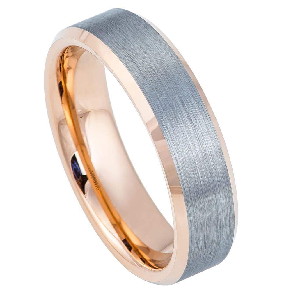 Rose Gold IP Beveled Edge Comfort Fit Tungsten Carbide Anniversary Ring TosowebOnline Unisex 6mm Brushed Finish