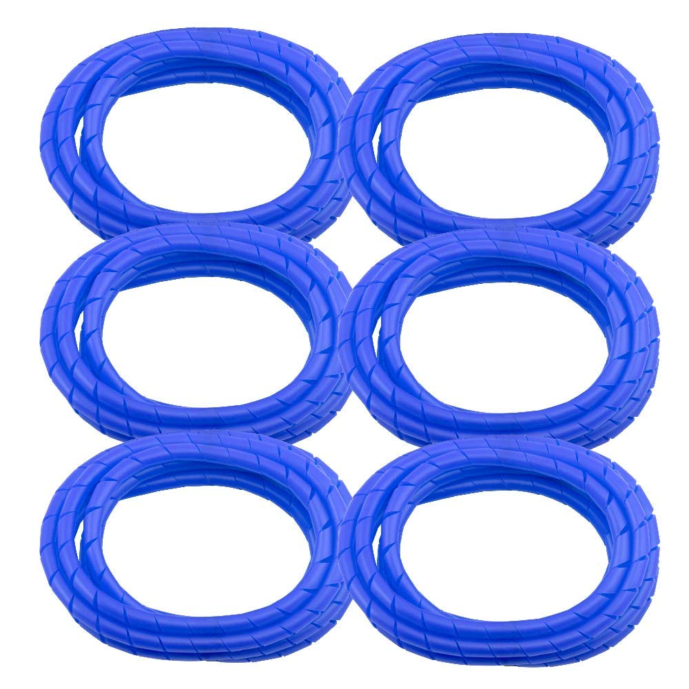 6 Pack MD Premium 8' Cord Cover Prevents Cord Tangling - Blue