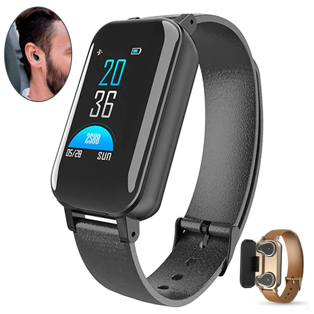 Black Smart Bracelet with Earphone,Womdee Smart Watch blueeetooth Earbuds 2 in 1,Fitness Tracker with Heart Rate Blood Pressure Monitor,Waterproof with Stopwatch, GPS, Pedometer,Step Counter for Women Men
