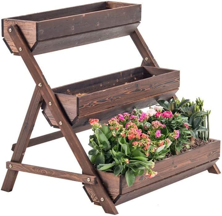 YVX Flower Pot Stands Outdoor- 3 Tier Raised Garden Bed Vertical Freestanding Wooden Flower Rack Classification Storage Box Shelf for Indoor Outdoor Flower Stand