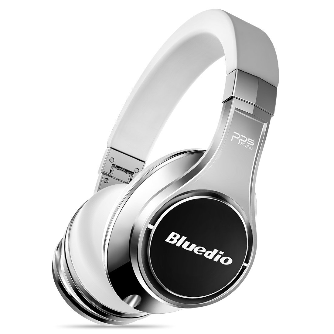 Bluedio U2(UFO) Active Smart Bluetooth Headphones Patented 8 Drivers Speakers Over Ear Wireless Headsets with Voice Control,Dual Cloud Service, Mic for Phones (White-Silver) by Bluedio