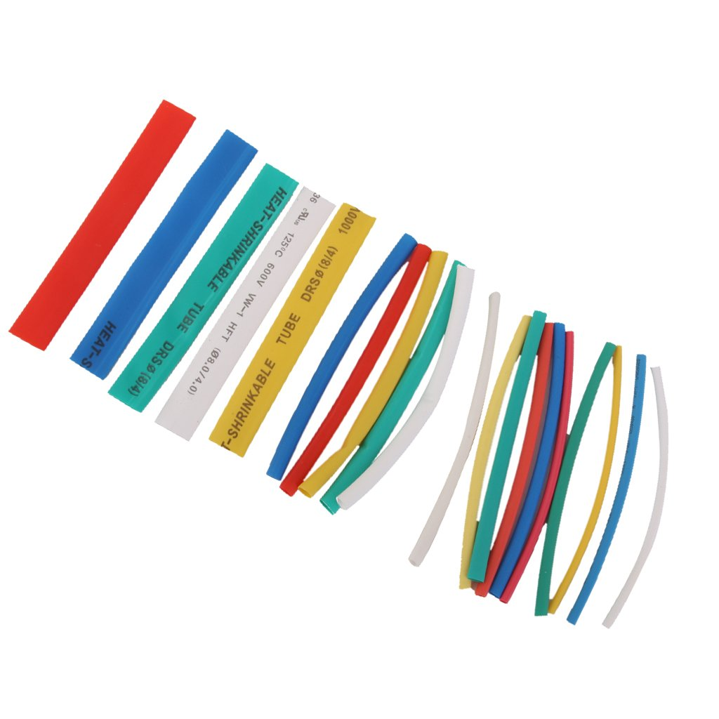 Generic 20pcs Pvc Heat Shrinkable Tubing Wire Cable Sleeve 4 Sizes 5 Electrical Wiring Colours Australia White Colors Car Motorbike