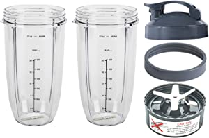 Blender Replacement Parts, 32OZ Cup with Flip Top To Go Lid and Screw-Off Lip Ring & Premium Extractor Blade, Compatible with Nutribullet 600W 900W Blenders (5 PCS)