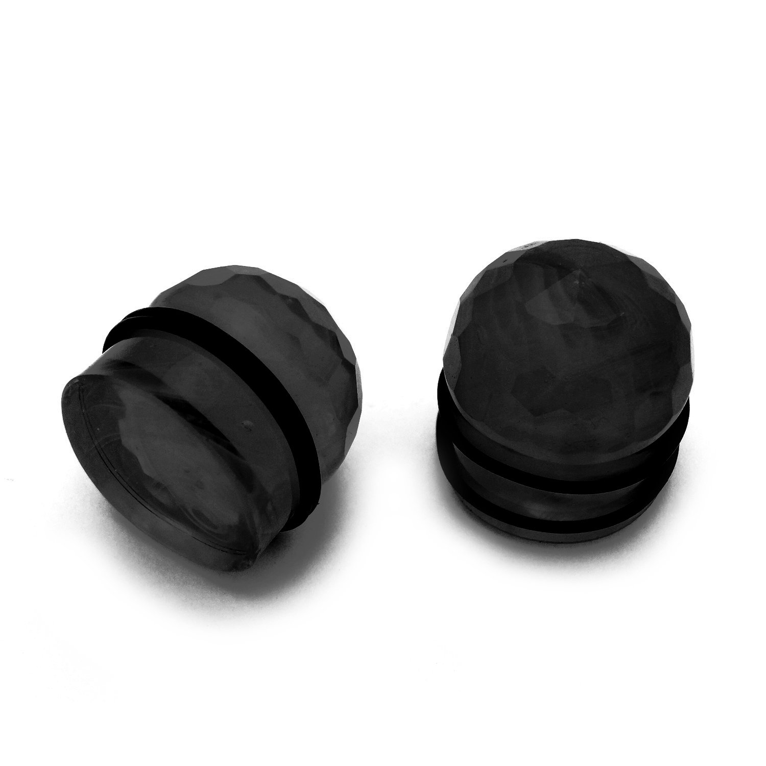 JewelryVolt Pair of Glass Orb Plugs Gauge Disco Chandelier Geometric Faceted Cut