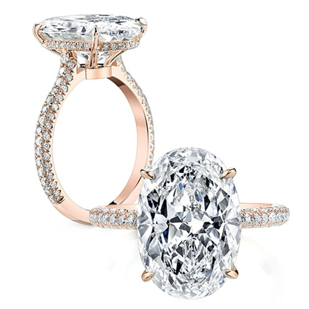 Epinki Custom Ring-925 Sterling Silver Womens Anniversary Ring Cubic Zirconia Oval Rose Gold US Size 7.5