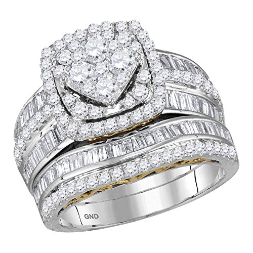14kt Two-tone White Gold Womens Round Diamond Cluster Bridal Wedding Engagement Ring Band Set 1-3/4 Cttw 14kt 2 Tone Diamond Ring