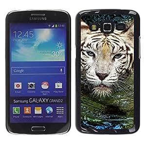 Caucho caso de Shell duro de la cubierta de accesorios de protección BY RAYDREAMMM - Samsung Galaxy Grand 2 SM-G7102 SM-G7105 - Tiger Water Cute Nature Swimming Animal