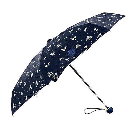 Zhhyltt Paraguas Mujer de Viaje 8 varillas y tela con recubrimiento de Teflón T210 Color Negro