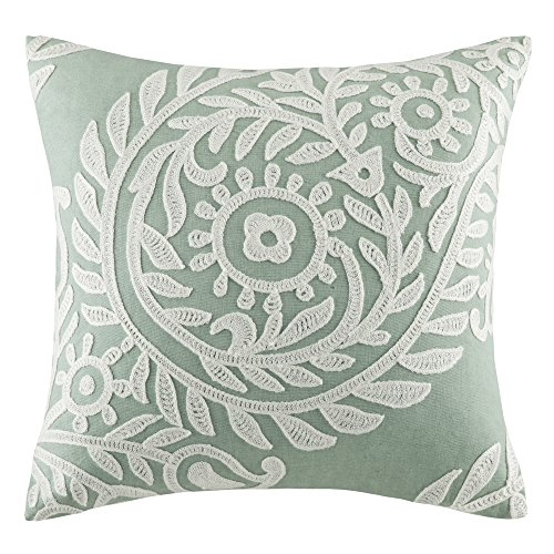 Harbor House Miramar Fashion Cotton Linen Throw Pillow, Traditional Damask Square Decorative Pillow, 18X18, Jadeite