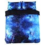 Ammybeddings 5 PCS King Size Blue Galaxy Comforter Set Cool 3D Outer Space Bedding Digital Print luxury Decor Bedding Set 1 Duvet Cover 2 Pillow Shams 1Flat Sheet and 1 White Comforter