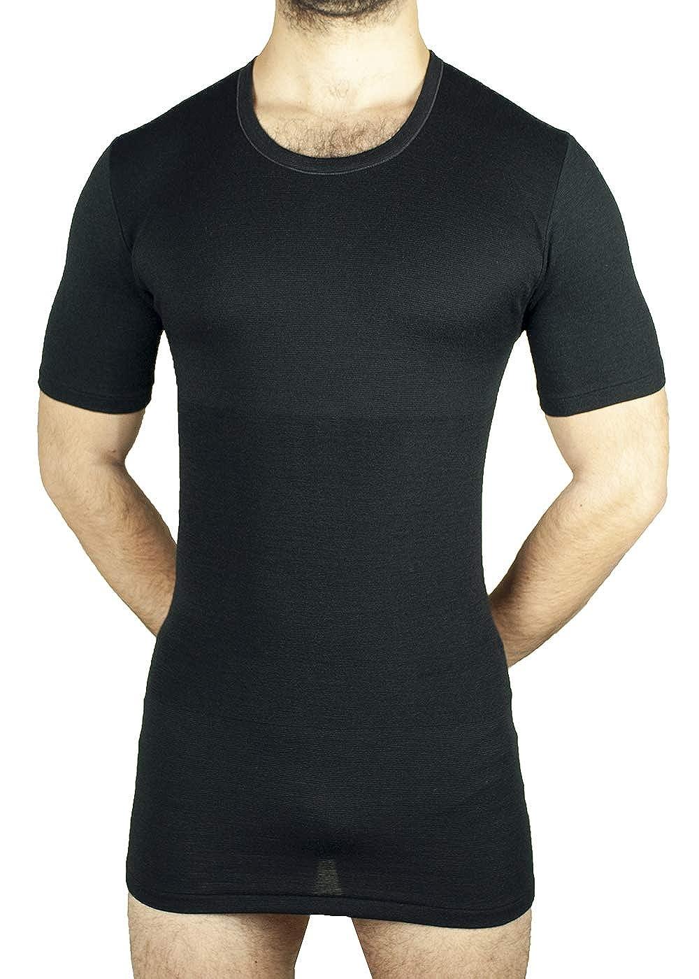 Maglietta Termica Mezza Manica Intimo Uomo Lana e Cotone Fascia Vita incorporata MANIFATTURA BERNINA Form 1005