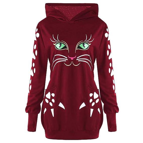 JiaMeng Mujeres Sudadera con Capucha Cat Print con Orejas Sudadera con Capucha Blusas de Invierno de