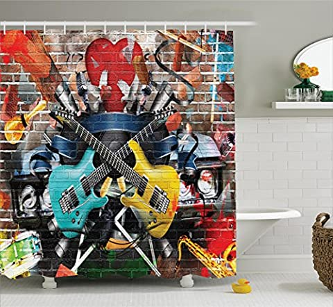 Music Decor Shower Curtain Set By Ambesonne, Collage Of Music, Color And Musical Instruments Street Wall Art Joy Nostalgia, Bathroom Accessories, 75 Inches (Musical Instrument Accessories)