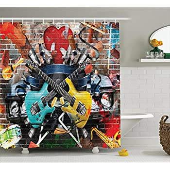 Music Decor Shower Curtain Set By Ambesonne, Collage Of Music, Color And  Musical Instruments