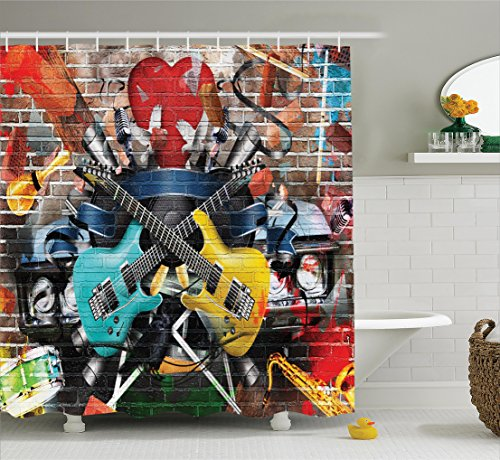 (Ambesonne Music Decor Shower Curtain Set, Collage of Music, Color and Musical Instruments Street Wall Art Joy Nostalgia, Bathroom Accessories, 69W X 70L Inches, Yellow Teal)
