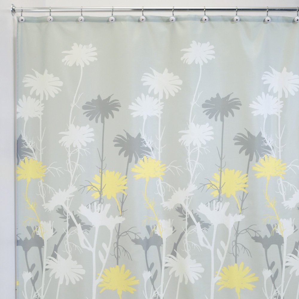 IMIEE Daizy Shower Curtain, Gray and Yellow, 72 x 72-Inch
