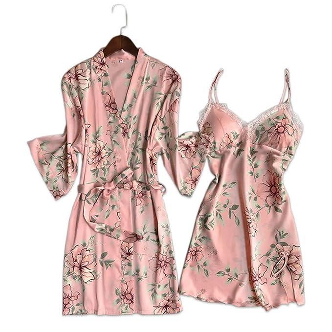 Meaeo Traje De Bata Sexy De Seda Establece Albornoces De Mujer Kimono Bata De Encaje De Flores De Seda Establece El Sistema De Las Mujeres Batas: Amazon.es: ...