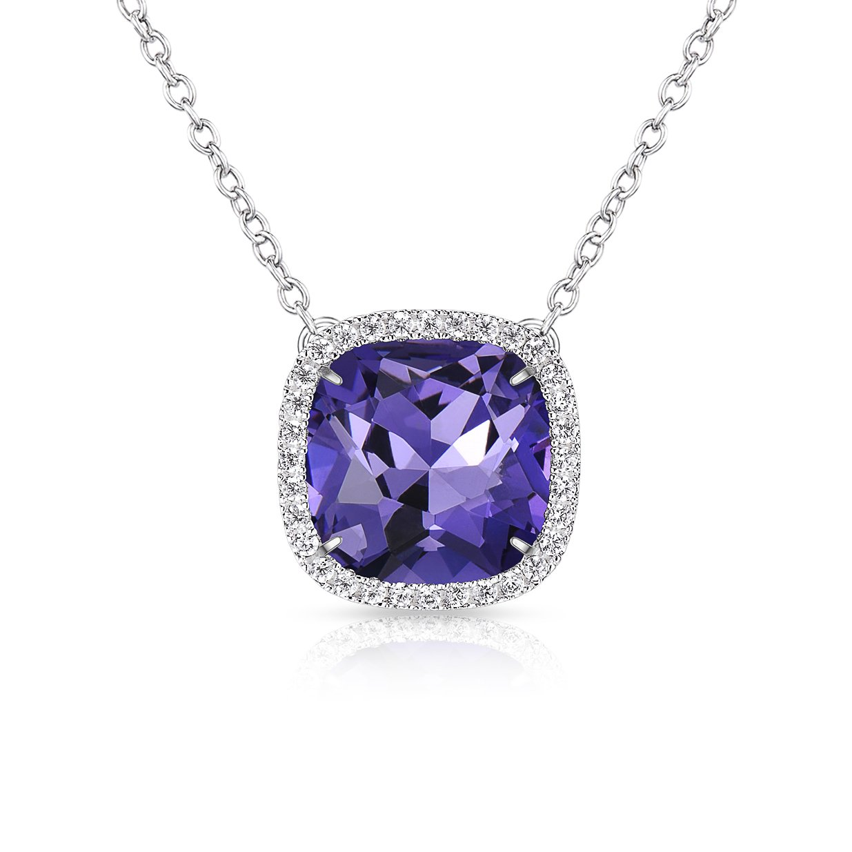 Amazon.com  Alantyer Birthstone Necklace Made with Square Swarovski Crystal  for Women and Girls 70850d0a015e