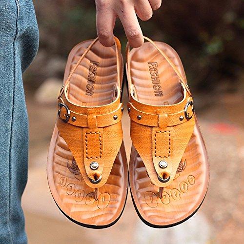 estate Il nuovo impermeabile Doppio uso vera pelle sandali Uomini tendenza Uomini Spiaggia scarpa sandali Uomini ,giallo,US=8.5,UK=8,EU=42,CN=43