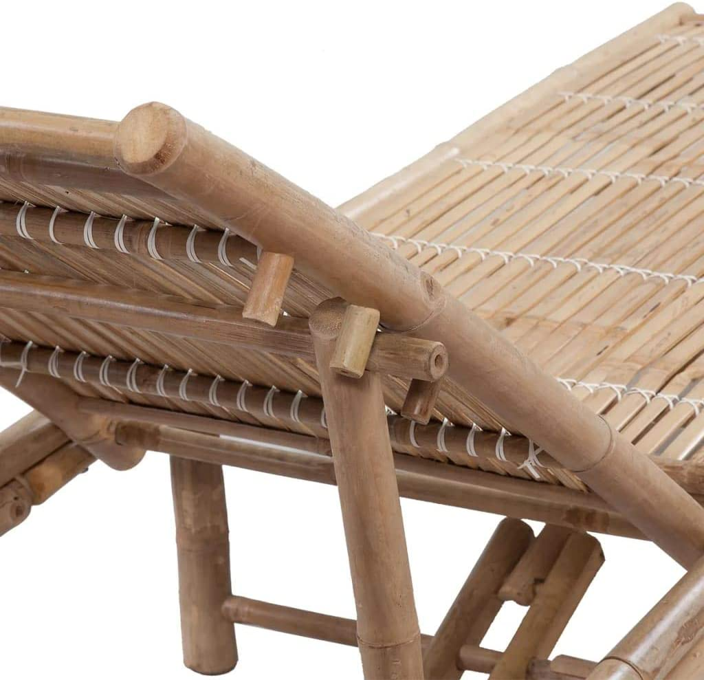 vidaXL Tumbona Ajustable de Jardín de Bambú Mueble Hamaca Lounger ...