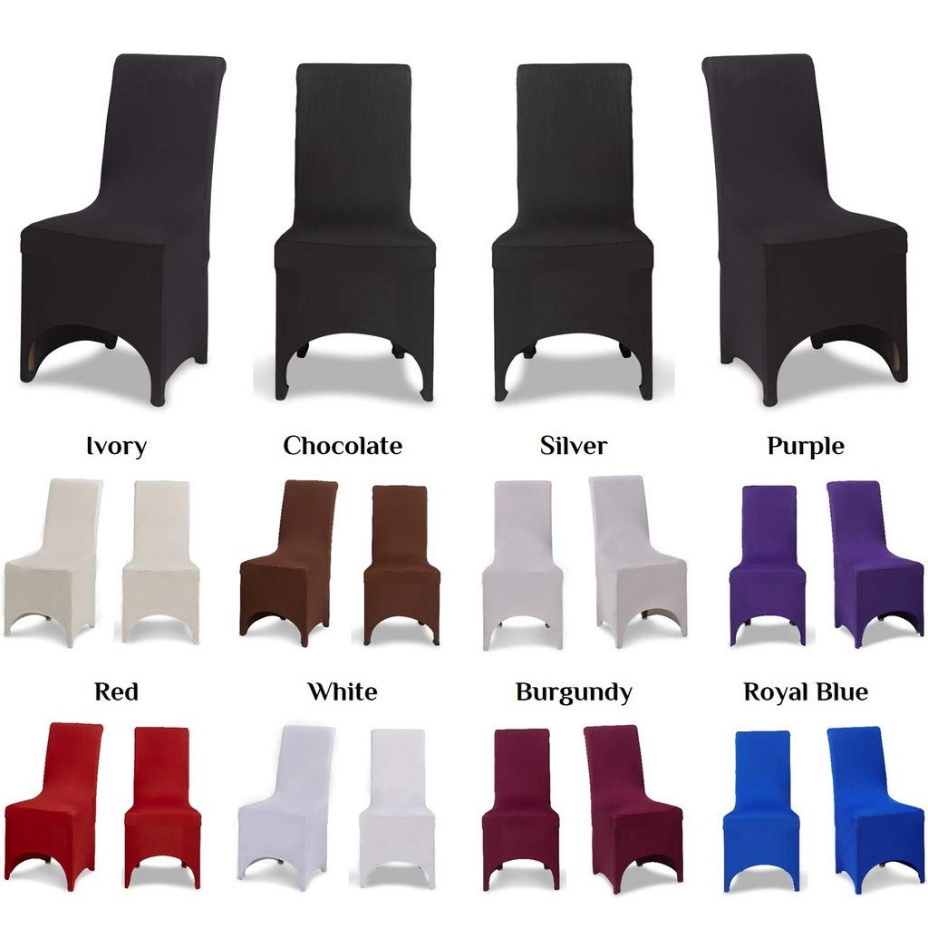 Covering All Occasions Stretch Fit Dining Chair Covers | Arched Fronted | White Black Ivory (1pc, Ivory)