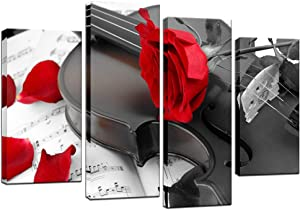 Biuteawal- 4 Panel Canvas Wall Art Red Rose on Violin Picture Painting Music art Prints On Canvas Romantic Art Wall Decor for Home Kitchen Living Room Bedroom Gallery Wrapped Ready to Hang