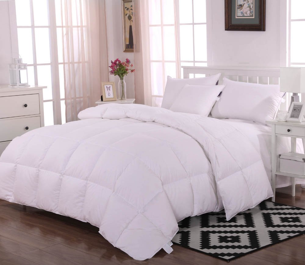 Unite Down Luxury 100% White Goose Down Comforter/Duvet/Quilt For Winter, Organic Cotton 800tc,White King
