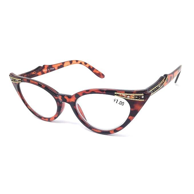 Dawnzen® Mujer Gafas de Lectura Gafas de Gato Montura, 50s Montura Ojo De Gato