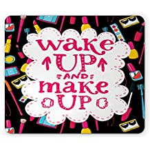 Ambesonne Quote Mouse Pad, Witty Saying Wake Up Make Up with Cosmetic Icons Lipstick Mascara and Nail Polish, Standard Size Rectangle Non-Slip Rubber Mousepad, Multicolor