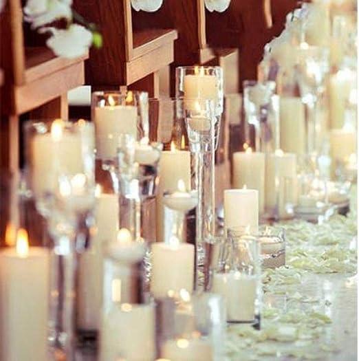 Luz de vela led/vela electrónica/suministros para arreglos románticos de cumpleaños de matrimonio/accesorios blancos/blanco marfil 5 * 12 cm: Amazon.es: Iluminación
