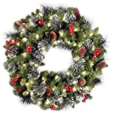 National Tree 24 Inch Crestwood Spruce Wreath with 50 Clear Lights, CSA (CW7-306C-24W-1)