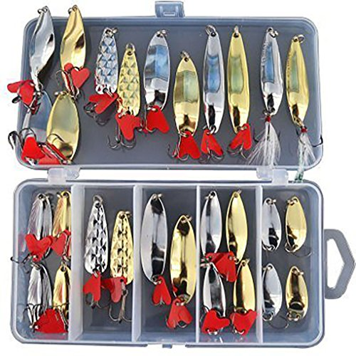 Fishing lures Bass Metal Crankbait Spoon Spinner Bait Tackle Fishing Lure Set For Trout Bass Salmon Freshwater Saltwater With Metal (Spinner Spoon)