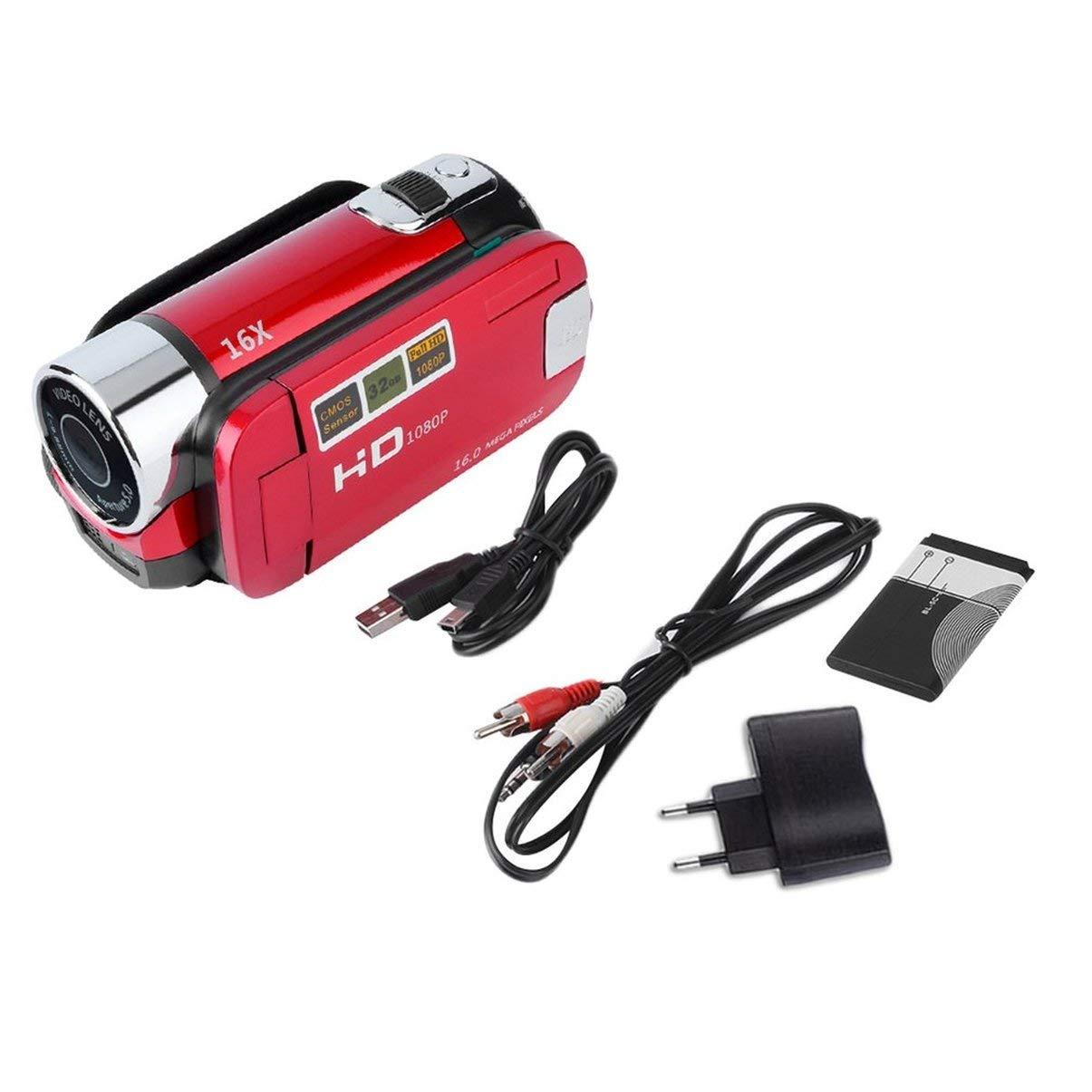 JullyeleDEgant Mini Portatile 2.7Videocamera Digitale Videocamera Schermo LCD TFT HD 720P 16X Zoom Videocamera DV Supporto Registrazione Video Com TF