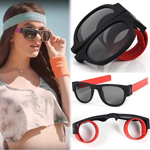 8ebb495ad29 Birdfly Wristband Foldable Sunglasses Driving Goggles Snap Bracelet (Red)