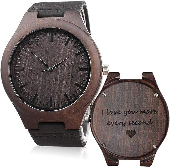 Amazoncom Kosting Reloj De Madera Grabado Regalo De