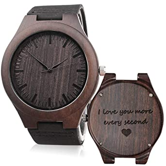 Kosting Engraved Wooden Watch Anniversary Gifts For Men Personalized Gifts For Husband Boyfriend Men Leather Strap Wristwatch Personalized Watches