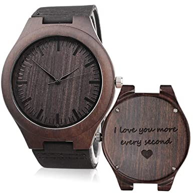 KOSTING Engraved Wooden Watch Anniversary Gifts for Men, Personalized Gifts for Husband Boyfriend Men Leather Strap Wristwatch Personalized Watches for Men