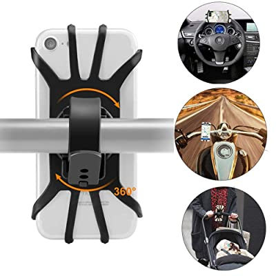 Bike Phone Mount, 360° Rotatable Motorcycle Phone Mount Bike Phone Holder, Universal Adjustable Silicone Holder Compatible with iPhone XR/XS Max/X/8 Plus/7, Samsung Galaxy S10 Plus/S10/S10e