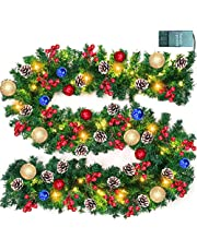 TURNMEON 9 FT Christmas Garland Decor with Lights Glitter Ball Ornaments, Battery Operated Xmas Garland Wreath with 280 Thick Branch 90 Red Berry Pine Cone,Holiday Indoor Outdoor Home Christmas Decor
