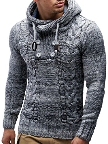 Leif Nelson LN20227 Men's Knitted Pullover,Grey,US-XXL / EU-3XL