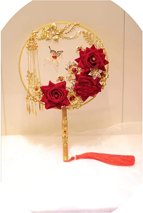 Amazon Com Xiao Jing Vintage Red Gold Bride Bouquet Chinese
