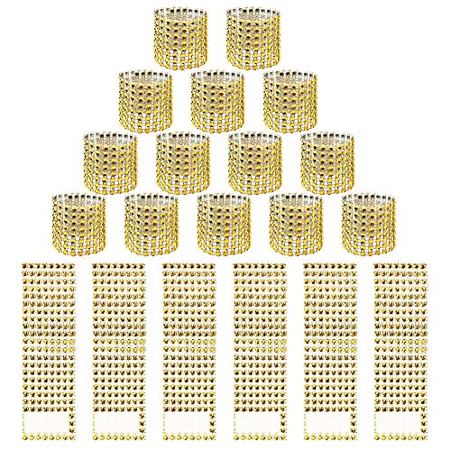 Hangnuo 120 PCS Rhinestone Gold Napkin Rings for Wedding Reception Baby Shower Party Decoration - Sparkling Bows for Napkins, Chair Sash, Tablecloth, Curtain (Napkin Wedding Ring Ring)