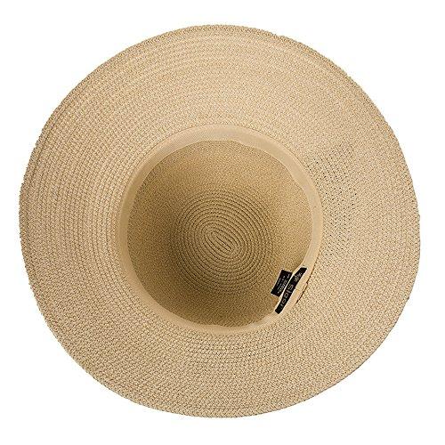 Siggi Womens Floppy Summer Sun Beach Straw Hats Accessories Wide Brim Foldable Beige 59cm/23.2