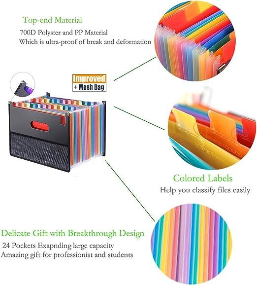 Cartellina portadocumenti A4 portatile a soffietto con 24/tasche a fisarmonica