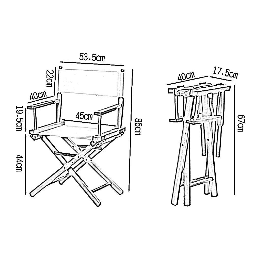HAIZHEN – 86 cm hög regissörsstol kanvas sits baktill utomhus massivt trä hopfällbar stol (färg: svart) Vitt