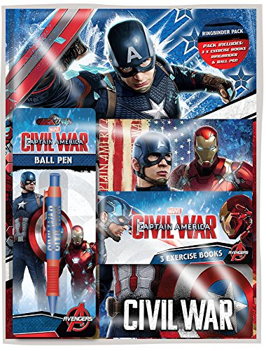 Range Wholesale Captain America Ringbinder Stationery Pack Ideal for children