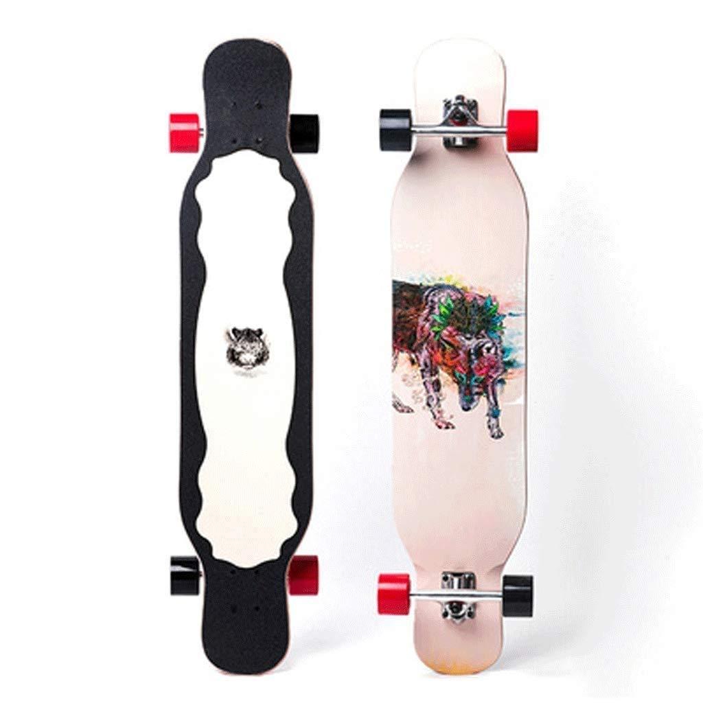 スケートボード ロングスケートボードプロスケートボードU字型フットボードスケートボード高速無音スケートボード高耐荷重スケートボード (Color : Wolf) Wolf