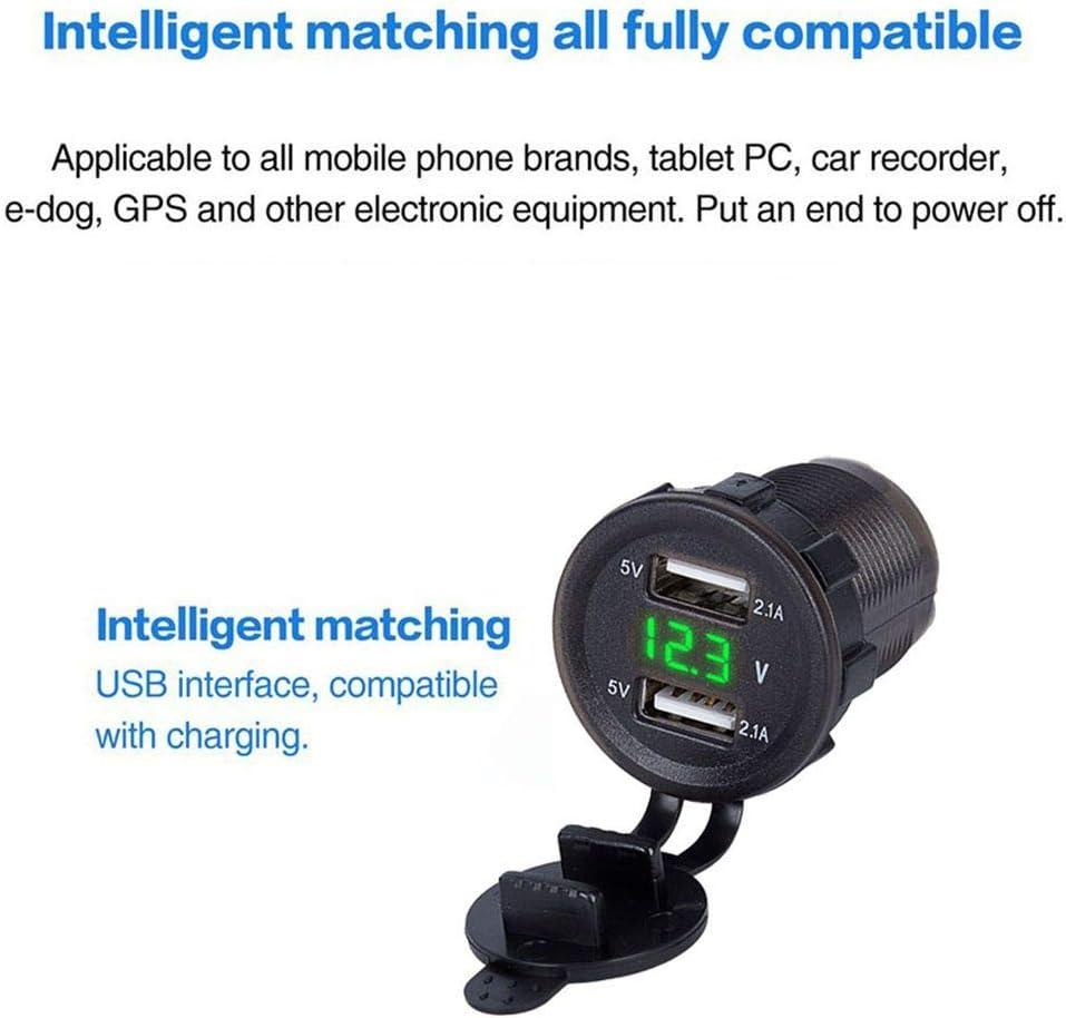Lidahaotin 4.2A Double USB Chargeur Prise dalimentation de Sortie num/érique LED Voltm/ètre Voyant Voiture Chargeur de t/él/éphone Noir 2