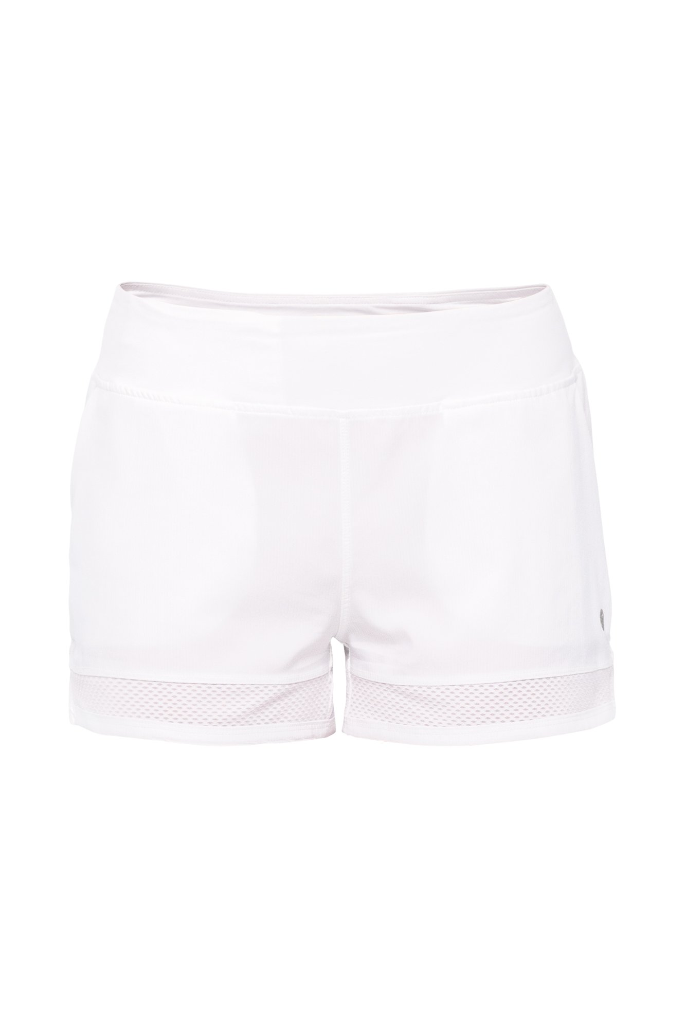 Lija Women's Shadow Mesh Cut Out Shorts, White, X-Large