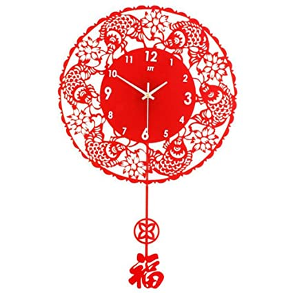 Amazon.com: Chinese living room wall clock Chinese style modern ...